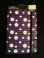 "New Padded Tablet Case 7"" COLLECTION NY Purple White Dots"
