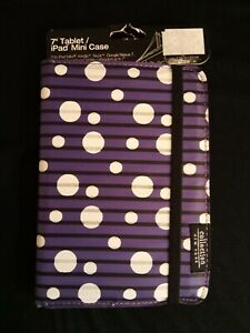 """New Padded Tablet Case 7"""" COLLECTION NY Purple White Dots"""