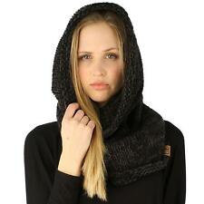 Winter Chunky Long Pullover Knit Single Loop Tube Infinity Hood Cowl Scarf Black