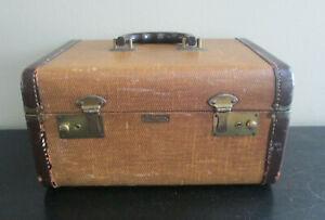 Vintage J C Higgins Luggage Brown Tweed Train Case Travel Cosmetic Suitcase Deco