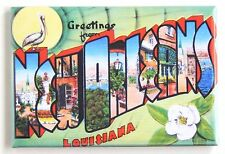 Greetings from New Orleans (Pelican & Flower) FRIDGE MAGNET (2 x 3 inches)