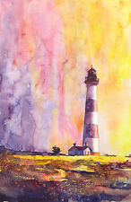 Bodie Island lighthouse- NC. Fine art reproduction of original watercolor.
