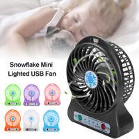 Portable Rechargeable LED Light USB Mini Desk Fan Air Cooler NO Battery