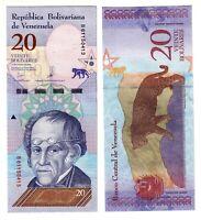 Banknote - 2018 Venezuela, 20 Bolivares, UNC, Rodrigues (F) Jaguar (R)