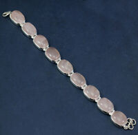925 STERLING SILVER ROSE QUARTZ GEMSTONE BRACELET DAILY WEAR JEWELRY KB1006