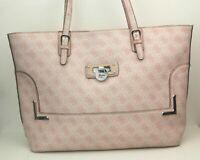 Guess Damen Tasche Handtasche Shopper Umhängetasche rosa silber Logoprint