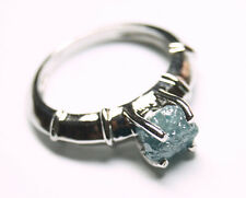 1.60cts Blue Rough Diamond Ring, Uncut Raw Diamond 925 silver Engagement Ring