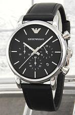 Emporio Armani  Black Leather Strap Chronograph original  Watch AR1733 free ship