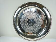"PEPSI COLA GADROON BORDER ENGRAVED ROUND 14 3/4"" SERVING TRAY 188 BY WM A ROGERS"