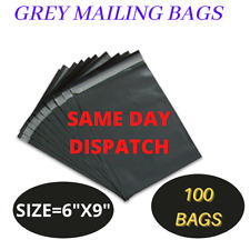 "100 LETTER SIZE 6X9"" GREY MAILING BAGS POSTAGE POSTAL QUALITY SELF SEAL POLY BAG"