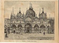 Stampa antica VENEZIA Basilica e Piazza San Marco 1899 Old antique print Venice