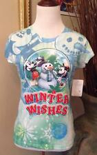 Mickey Minnie Mouse Shirt Women's Small NWT Winter Wishes Juniors Winter Wishes