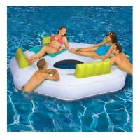 "4-Person 80"" Luxe Floating Inflatable Pool Lake Water Party Lounge Island"