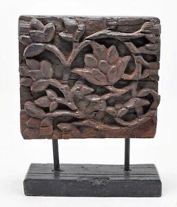 Antique Wooden Floral Carving Panel Plaque Original Old Hand Carved
