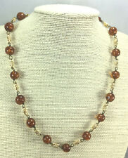 Vintage Necklace Murano Glass Copper Amber Fleck brass & Goldtone Choker