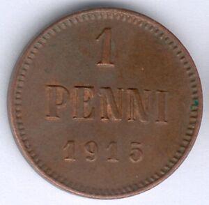 Finnland Nikolaus II. (1894-1917) 1 Penni 1915 (Cu.) KM#13, vz zu fast vz/st