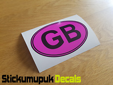 "GB Ovale Rosa Auto Camper Van Paraurti Finestra Adesivo Decalcomania 5""/125 mm Wide"
