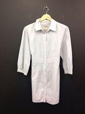 Collar 3/4 Sleeve Striped Dresses Midi