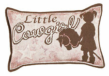 """WESTERN RUSTIC RANCH LITTLE COWGIRL TAPESTRY PILLOW HOME DECOR SIZE 9""""x12"""""""
