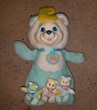 RARE W/COLLAR Hasbro Baby Cub Surprise Aqua bear plush doll vintage 3 babies vtg