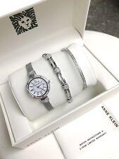 Anne Klein Watch * 2845SVST MOP Crystals Silver Steel Watch & Bracelet Set