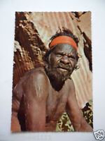 VINTAGE COLOUR POSTCARD ABORIGINAL MAN TRIBAL INITIATION SCARS and ROCK PAINTING