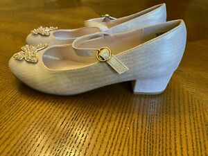 Monsoon GIRLS SHOES SIZE 3 PINK SHIMMER WEDDING occasion PROM PARTY GORGEOUS!