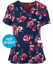 """Healing Hands  #2266 V-Neck Print Scrub Top in """"Floral Jubilee"""", Size M"""
