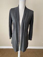 NWT Joan Vass New York Heather Gray Cardigan Sweater Size M 3/4 Sleeve Soft