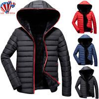 Men Padded Bubble Hooded Coat Puffer Jackets Winter Warm Bomber Outwear Overcoat