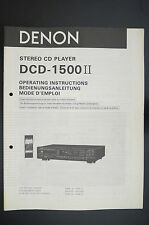 DENON DCD-1500 II Original CD-Player Bedienungsanleitung/Operating Instructions