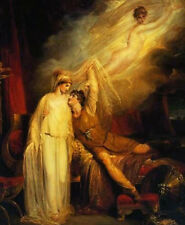 Hand painted Oil painting richard westall - reconciliation of helen and paris
