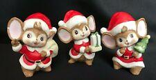 "Set 3 Vintage Homco Christmas Santa Mice ~ Bisque Figurines - 3 3/4"" Tall"