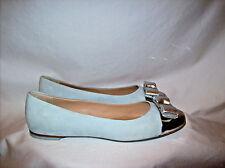 Gorgeous Salvatore Ferragamo Icy/Pale Blue Suede Ballet Loafers/Shoes Sz.7 1/2