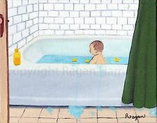 "Baby Taking a Bath Realism Small Unframed Original Oil Painting 8X10"" COA"