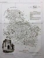 Yonne en 1836 Porte Notre Dame à Sens Vermanton Auxerre Vezelay Coulanges
