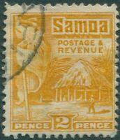 Samoa 1921 SG152 2d yellow Native Hut p14x14½ FU