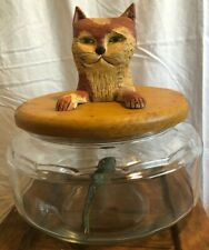 13� Hand Carved Wood Decorative Art Cat and Fish Glass Bowl Unique Collectible