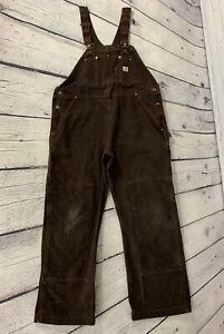 Carhartt Women's Brown Duck Cloth Canvas Double Front Knee Overalls 102357 XL S