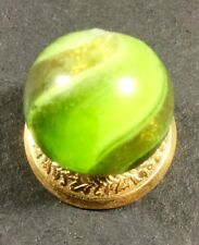 Vintage German Handmade Marble . Green Glass Ribbon Lutz. .69 Inch