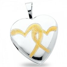 Heart Engraved Locket Pendant Solid 14k Yellow White Gold Charm Holds Pictures