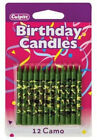 Camo Print Birthday Cake Candles - 12 ct. Culpitt. Delivery is Free