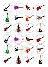 24 Acoustic rock chitarre TOPPER RISO WAFER COMMESTIBILE FATA / cupcake decorazioni per torta