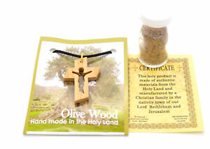 Holy Land hand carved olive wood cross CRUCIFIX pendant necklace holy soil