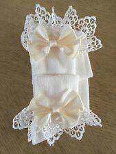 GIRLS IVORY/CREAM LARGE SATIN BOW FRILLY ANKLE SOCKS DRESS/PARTY EMBROIDERED
