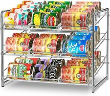 Can Rack Organizer Stack able Storage Dispenser Holds for Kitchen Cabinet Chrome