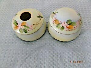 Bavaria Porcelain Dresser Set--Hair Receiver and Covered Box
