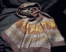 Colorful Thai Silk Scarf Shawl Pashmina Brown Gold silver Elephant for gift New
