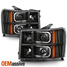 Fit 2007-2013 GMC Sierra 1500/2500HD/3500HD LED Tube Headlights - Black