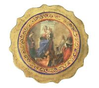 Vintage Gold Gilt Painted Wood Madonna Baby Jesus Picture Plaque